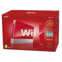 Nintendo Wii rot + New Super Mario + Wii Sports + Donkey Kong (Bundle)