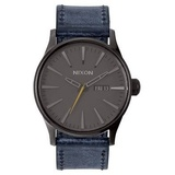 Nixon The Sentry Leather Gunmetal / Navy A1051893