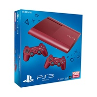 Sony PS3 Super Slim 500GB rot + 2x DualShock 3 Controller rot
