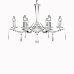 Searchlight Kronleuchter aus Chrom mit Kristallschmuck Arabella 7956-6CC