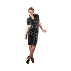 Kleid aus Latex in Midilänge mit 2-Wege-Zip