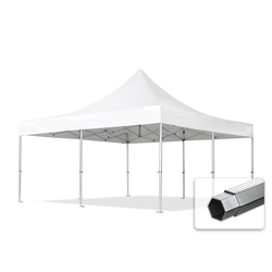 Toolport Faltpavillon 5x5m Long-Life PVC 620 g/m² weiß wasserdicht Faltzelt, Klappzelt