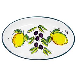 Lashuma Servierplatte Zitrone Olive, Keramik, Salatplatte oval, handgemachter Servierteller 16 cm x 26 cm x 3 cm
