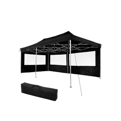 tectake Pavillon Faltbarer Garten Pavillon 3x6m mit 2 Seitenteilen schwarz