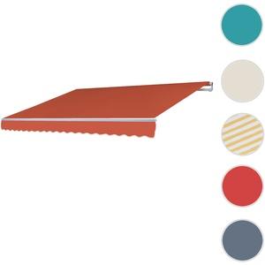 Alu-Markise T792, Gelenkarmmarkise Sonnenschutz 5x3m ~ Polyester Terrakotta