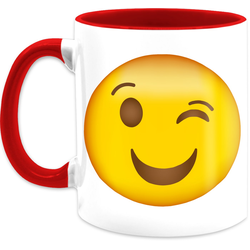 Shirtracer Tasse Zwinker Emoticon - Statement Tasse - Tasse zweifarbig, Keramik