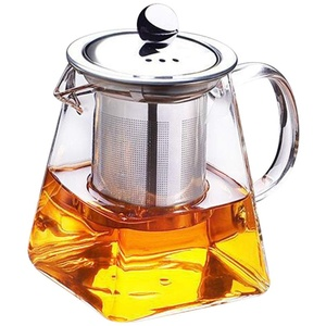 Venus valink Teekanne aus klarem hitzebeständigem Glas mit Edelstahl-Sieb, Teekanne, 350 ml, quadratische Glas-Teekanne mit Blatt-Motiv, Teekanne für losen Tee für zu Hause, Küche
