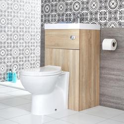 ovale Toilette mit Spülkasten und integriertem Waschbecken Eiche, von Hudson Reed