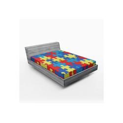 Spannbettlaken Soft Dekorativer Stoff Bettwäsche Rund-um Elastischer Gummizug, Abakuhaus, Autismus Layout von Puzzles 140 cm x 200 cm