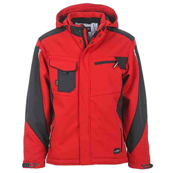Workwear Winter Softshell Jacke - STRONG - (red/black) M