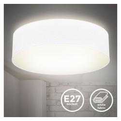 B.K.Licht Deckenleuchte BKL1218, Deckenlampe Stoffdeckenleuchte Deckenleuchte Bürolampe Textilschirm E27 2 Flammig 38cm Weiß ohne Leuchtmittel