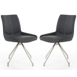 Spindle Dark Grey Leather Dining Chair In A Pair With Spider Leg