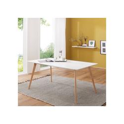 Wohnling Esstisch WL1.705, Retro SCANIO 120cm Weiß Matt Eiche Küchentisch Esszimmer Tisch