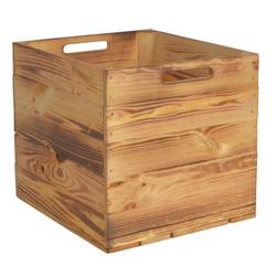 CHICCIE Holzkiste Kallax Aufbewahrungsbox Geflammt 33x38x33cm (1 Stück)