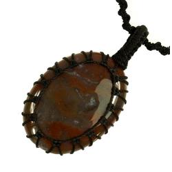 Guru-Shop Perlenkette Geknüpfte Makrameee Halskette mit Stein,..