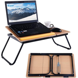 COSTWAY Laptoptisch Betttablett faltbar Lapdecks natur 32 cm x 23 cm x 55 cm