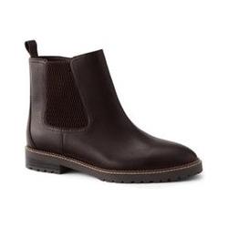 Chelsea-Boots mit Profilsohle, Damen, Größe: 38.5 Normal, Braun, Leder, by Lands' End, Ochsenblut Leder - 38.5 - Ochsenblut Leder