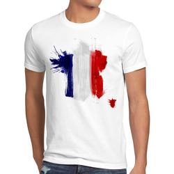 style3 Print-Shirt Herren T-Shirt Flagge Frankreich Fußball Sport France WM EM Fahne weiß L