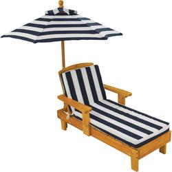 KidKraft Kinderklappstuhl Liegestuhl mit Sonnenschirm, weiß-blau braun Kinder Gartenmöbel Outdoor-Spielzeug