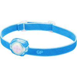 Stirnlampe GP Discovery CH31, LED Kids Stirnleuchte pink/magenta, GP Stirnleuchte, 40 Lumen, inkl. 2x CR2025 Knopfzellen, Leuchtzeit 6h, Leuchtweite 8m, abnehmbare Leuchte, kann mit Clip überall befestigt werden (z.B. Schulranzen), Leuchtmodi Max/Niedrig/Blinken blau