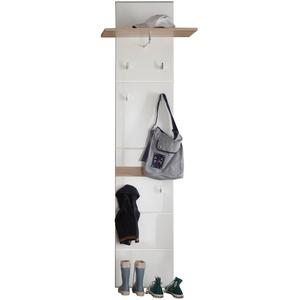trendteam smart living Garderobe Gardrobenpaneel Set One, 60 x 195 x 25 cm in Eiche San Remo Hell (Nb.), Absetzung Weiß Hochglanz mit Ablagefläche, sechs Garderobenhaken und Kleiderstange