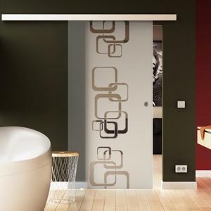 Made in Germany SoftClose Schiebetür aus Glas 900x2050 mm  Ketten-Design  Levidor® EasySlide-System komplett Laufschiene und Muschelgriffen für Innenbereich  ESG-Sicherheitsglas