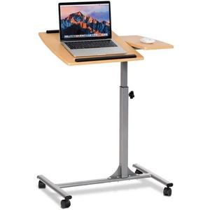 COSTWAY Laptoptisch Laptoptisch, Notebooktisch Pflegetisch Rolltisch Betttisch Sofatisch, auf Rollen, höhenverstellbar und neigungsverstellbar