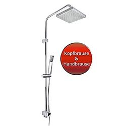 VCM Duschset Duschsystem Set Duschkopf Handbrause Schlauch Duschstange Marbella Wellness ADOB Marbella (Farbe: Silber)