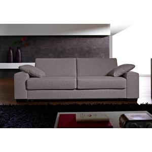 Places of Style Schlafsofa Norwalk, Dauerschlaffunktion, mit Unterfederung / Lattenrost und Matratze silberfarben