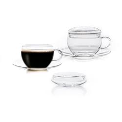 Creano Tasse, (Set, 2 tlg., Tassen, Untertassen), inkl. integriertem Glasdeckel, 2-teilig farblos Becher Tassen Geschirr, Porzellan Tischaccessoires Haushaltswaren Tasse