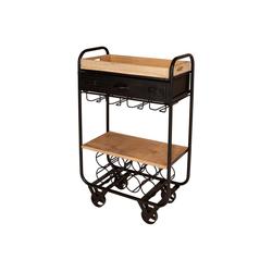 mokebo Beistelltisch Der Kredenzer, auch als Küchenwagen oder rollbarer Beistelltisch aus Holz & Metall