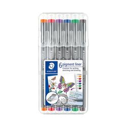 STAEDTLER Fineliner Fineliner pigment liner Box 0,3 mm, 6 Farben