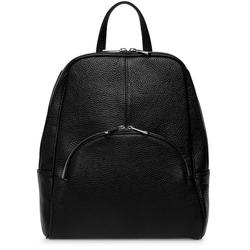 Caspar Cityrucksack Caspar TL802 eleganter großer Damen City Rucksack aus echtem Leder schwarz