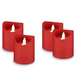 4er Set LED-Echtwachs-Kerzen in rot, Deko ideal für Advent, Adventskranz und Weihnachten