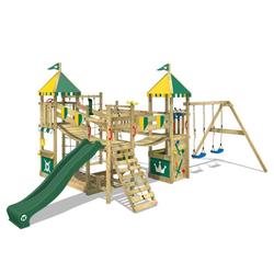 Wickey Spielturm Ritterburg Smart Queen mit Schaukel & Rutsche, Spielhaus mit Sandkasten, Kletterleiter & Spiel-Zubehör grün