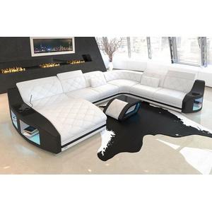 Sofa XXL Wohnlandschaft Leder Swing Couch Ottomane LED Beleuchtung weiss schwarz