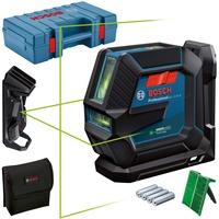 Bosch Linienlaser GLL 2-15 G (grüner Laser, Halterung LB 10, Deckenklammer, sichtbarer Arbeitsbereich: bis 15 m, 4x AA-Batterie, Handwerkerkoffer)