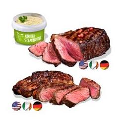 GOURMETFLEISCH Steak-Paket Rumpsteaks & Rib-Eyes Steakbutter, 7tlg.