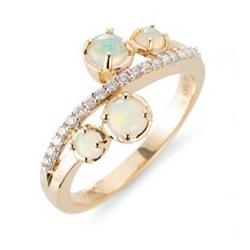 Afrikanischer Opal Ring ca. 0,46ct 18 Brillanten 0,16ct Gold 585
