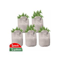 Abakuhaus Pflanzkübel hochleistungsfähig Stofftöpfe mit Griffen für Pflanzen, Retro Geometrische Zickzack Zickzack 28 cm x 28 cm