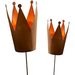 Gartenstecker Krone (Set) für Teelichter