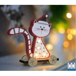 Hellum 524185 Holz-Figur Katze (sitzend) LED Bunt