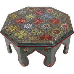 Guru-Shop Dekoobjekt Bemalter kleiner Tisch mit Fliesenmosaik - blau..