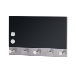 WENKO Black Magnetische Garderobe, Hakenleiste mit 5 Haken, auch als Schlüsselbrett geeignet, Maße: 30 x 19 cm