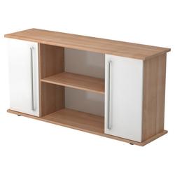KAPA SB | Sideboard | mit Türen - Nussbaum/Weiß Sideboard Chromgriff Metall