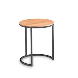 Vollholztisch aus Kernbuche Massivholz und Metall rund