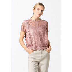 HALLHUBER Shirtbluse Spitzenbluse rosa 42