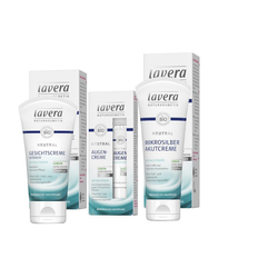 lavera Gesichtspflege-Set, 3-tlg., Gesichtspflege Set Gesichtscreme Augencreme Mikrosilber Akutcreme