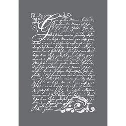 Rayher Siebdruckschablone Vintage Poesie grau