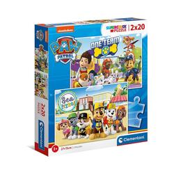 Clementoni® Puzzle Puzzle 2 x 20 Teile, Supercolor - PAW Patrol, Puzzleteile